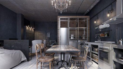 дизайнерские столы и стулья в стиле лофт